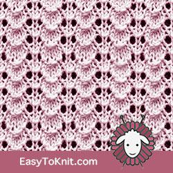 Eyelet Lace 46: Tiny Shell | Easy to knit #knittingetitches #eyeletlace