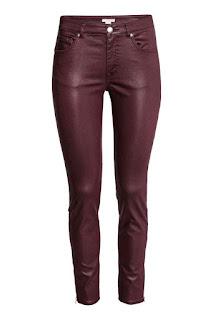 bordowe spodnie powlekane z h&m