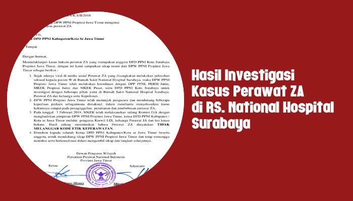 Hasil Investigasi Kasus Perawat ZA di RS. National Hospital Surabaya