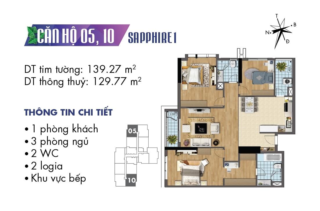 Mặt bằng căn hộ 3 phòng ngủ TNR Goldmark City