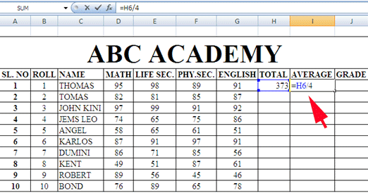 Average in MS-Excel
