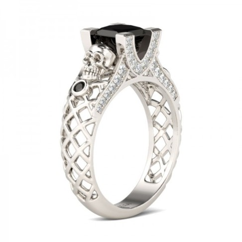 Jeulia Hollow Out Filigree Princess Cut Created Black Diamond Skull Ring-The Price: $165.95