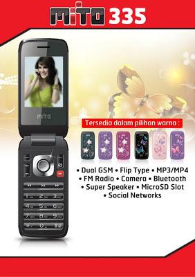 Mito 335 Harga Spesifikasi, Handphone Flip Dual GSM Murah Hanya Rp. 300 ribuan