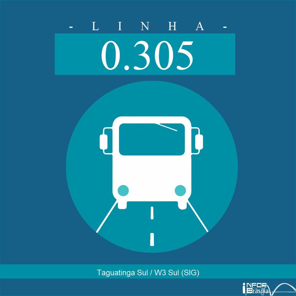 Horário de ônibus e itinerário 0.305 - Taguatinga Sul / W3 Sul (SIG)