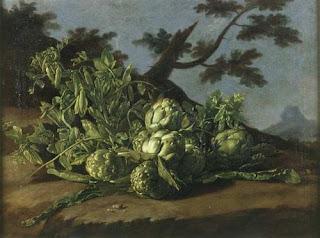 Luis Meléndez, Natura morta con carciofi e piselli in un paesaggio,  Collezione privata