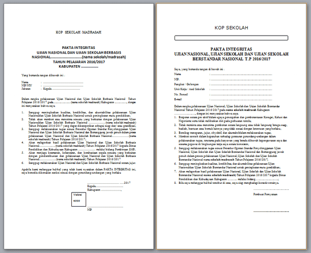 Contoh Pakta Integritas US USBN dan UN 2017