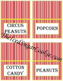 Circus Food Cards- Circus Peanuts, Popcorn, Cotton Candy, Peanuts