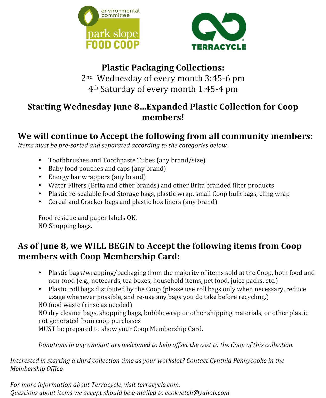 Re: Starting June 8th-Expanded Plastic Collection at Park