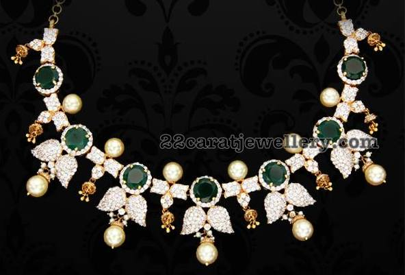 Diamond Emerald Set by Sri Bhavani Jewels