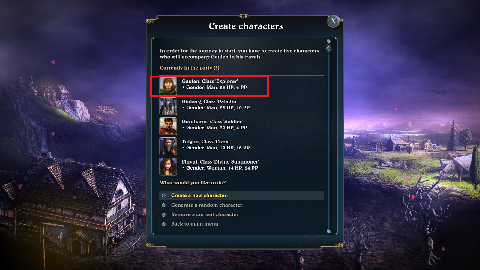 Character creation screen from Lords of Xulima.