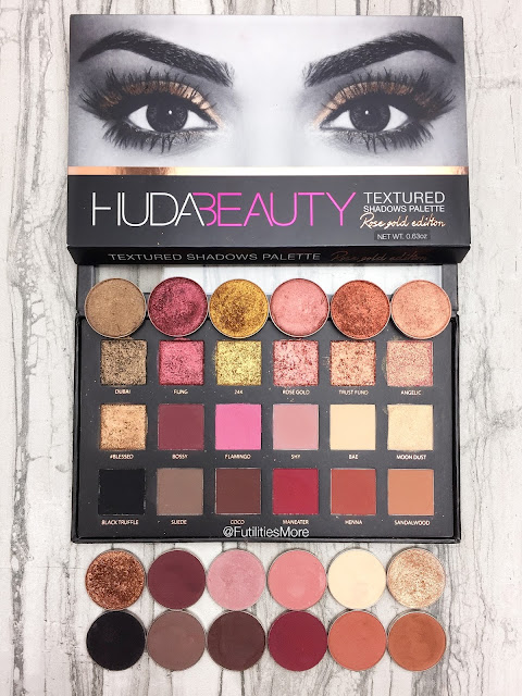 Huda Beauty Rose gold Textures shadows palette dupes with Makeup Geek eyeshadows, futilitiesmore, futilitiesandmore, futilities and more, makeup dupes