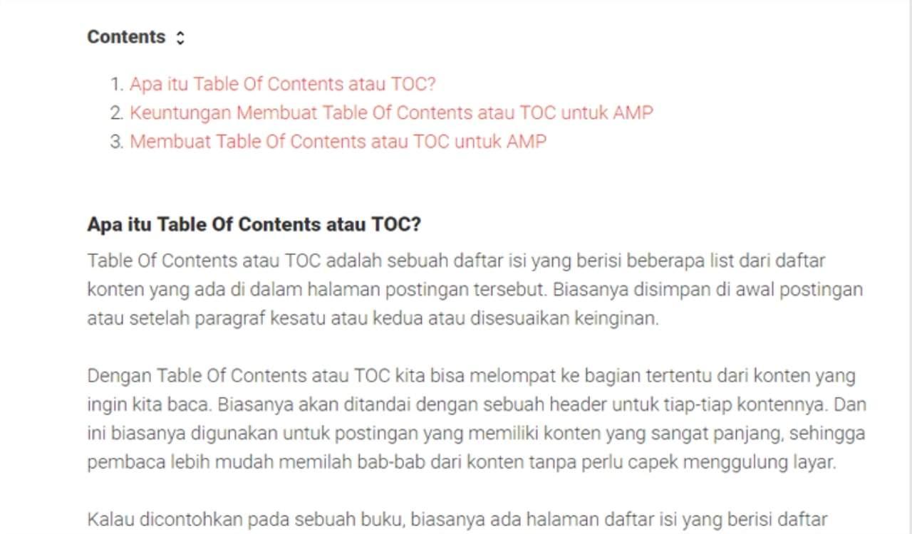 Membuat Table Of Contents Di Dalam Postingan Blog AMP Membuat Table Of Contents Di Postingan Blog AMP HTML