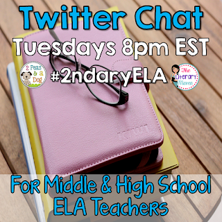 #2ndaryELA is a Twitter chat hosted by The Literary Maven & 2Peas and a Dog on Tuesday nights, 8pm EST.