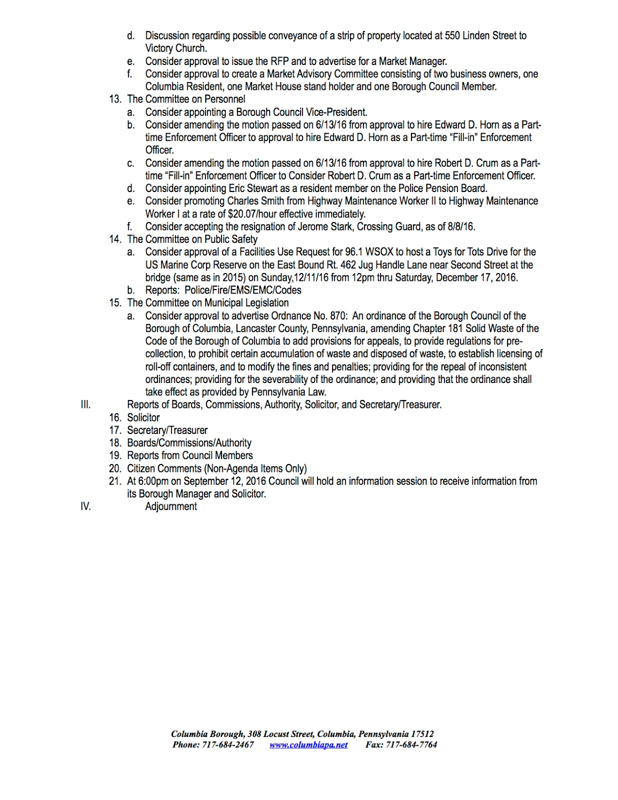COLUMBIA SPY Draft Agenda for August 8 2016 Columbia Borough – Draft Meeting Agenda