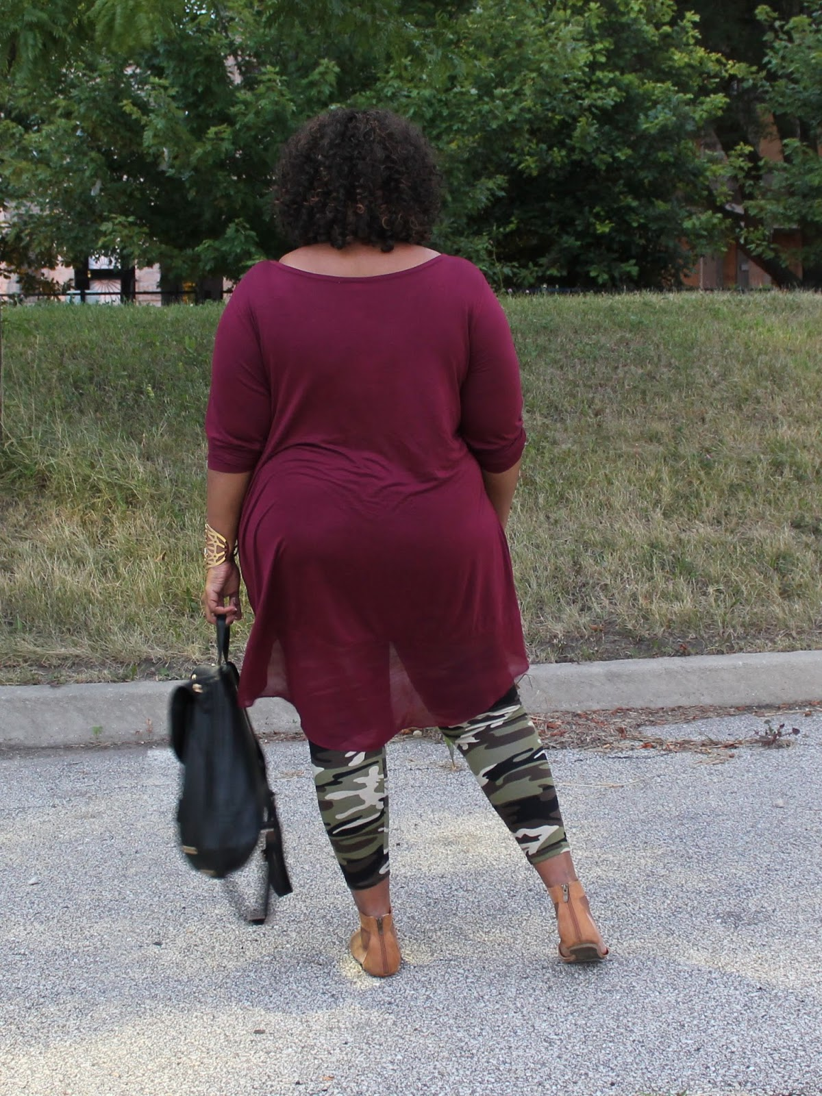 Ootd Rockin Camouflage Print High Low Curvatude