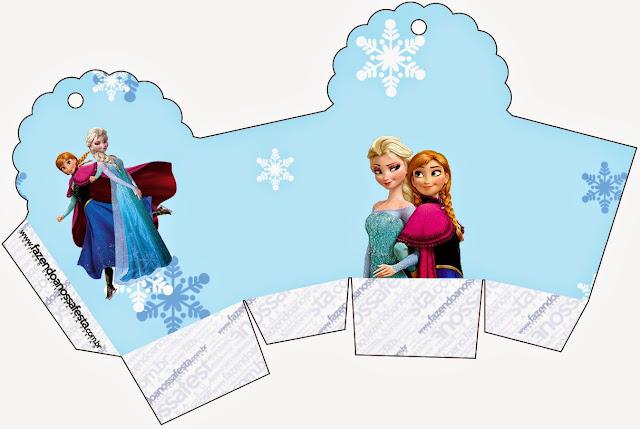 Caja para cupcakes, chocolates o golosinas de Frozen en Navidad Azul.