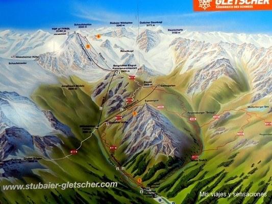 Mapa Stubaier-Gletscher, Tirol, Austria