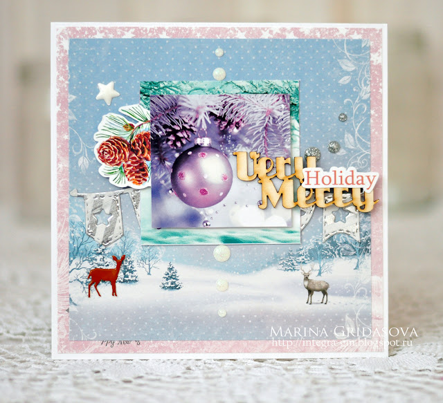 very merry holiday card | Eyelet Outlet DT @akonitt #card #by_marina_gridasova #eyeletoutlet #enameldots #holidaycard #washitape #brad
