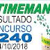Resultado da Timemania concurso 1240 (04/10/2018) ACUMULOU!!!