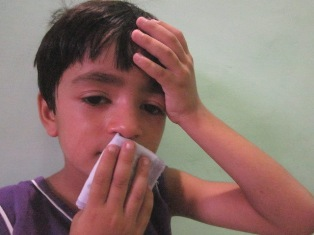 Image showing a kid suffer from influenza