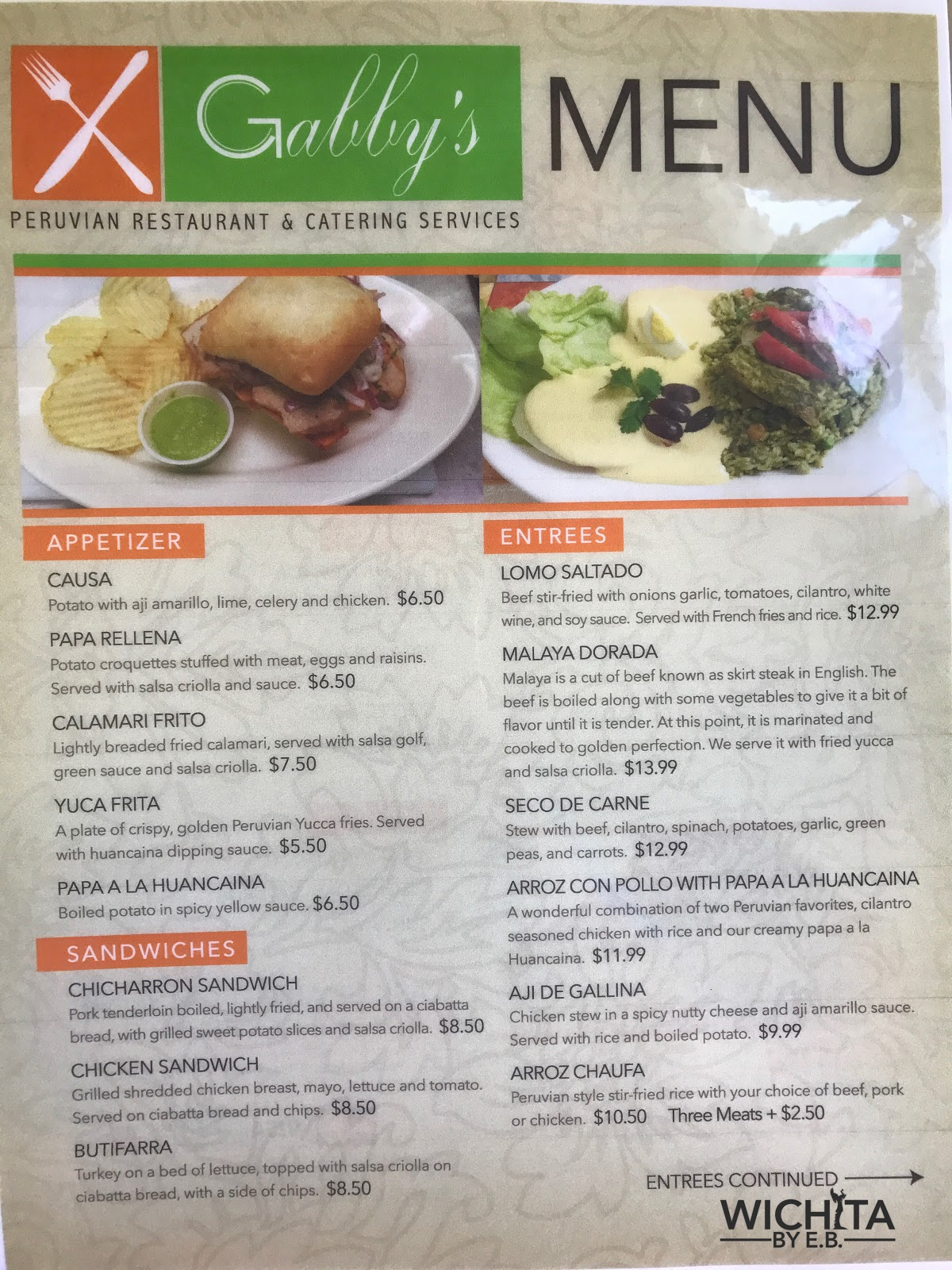 Gabbys peruvian restaurant and catering has a new menu and its they will occasionally have weekend specials for items that dont appear regularly on the menu on sundays they offer a peruvian breakfast special forumfinder Image collections