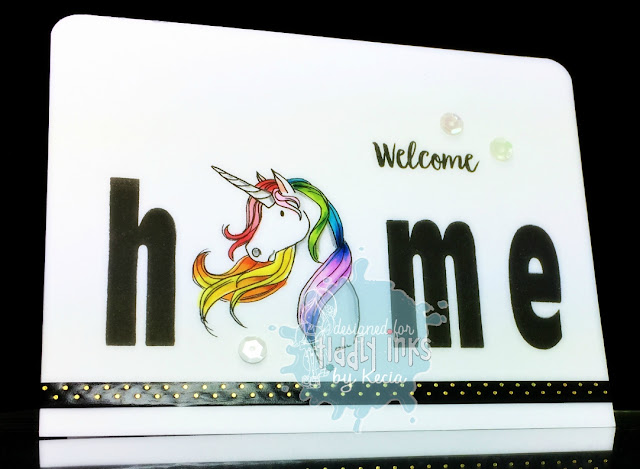 Tiddly Inks, Kecia Waters, unicorn, welcome home, Copic markers, rainbow
