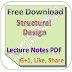 Lecture Notes on Structural Design PDF Download
