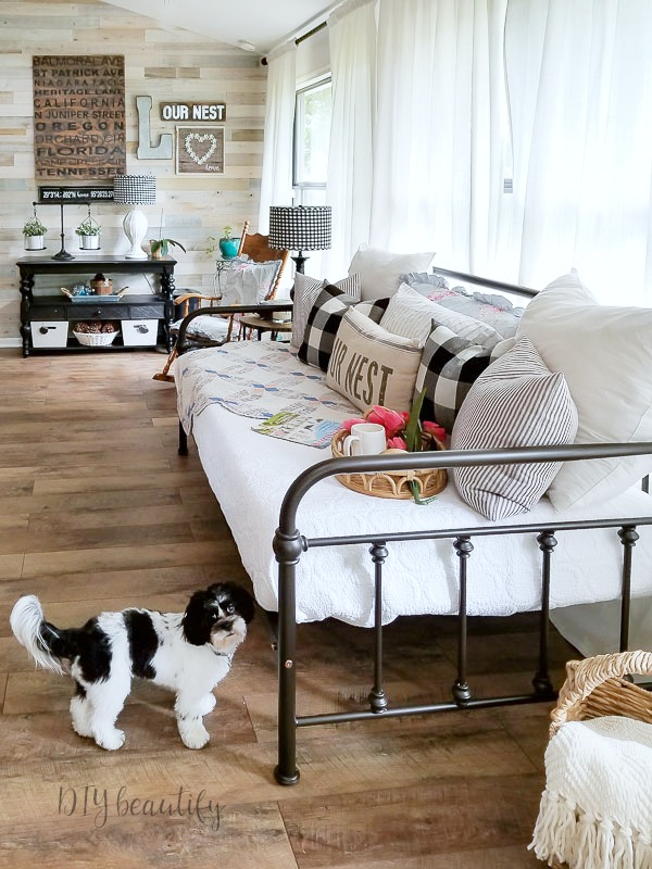 iron daybed, farmhouse floors
