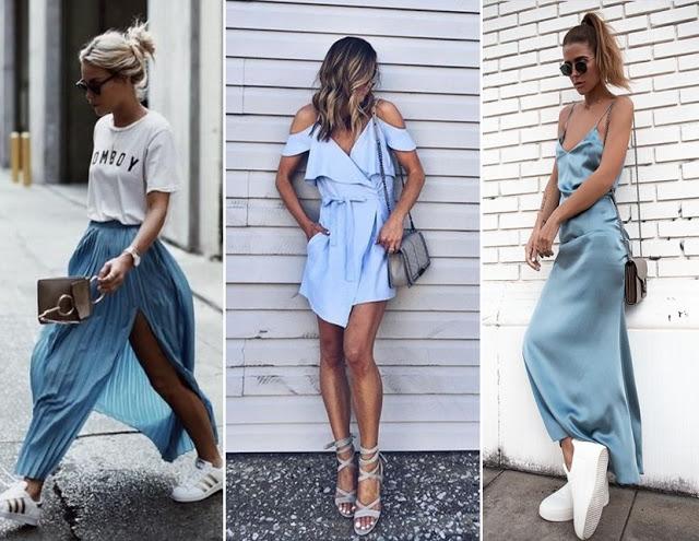 Tendência de moda primavera verão 2018 - azul serenety