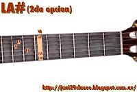 LA# = A# = SIb = Bb acorde de guitarra mayores 2da posicion