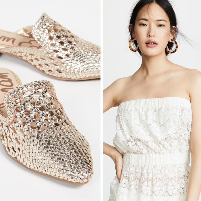 lace white cover up beach, woven mules, shopbop sale