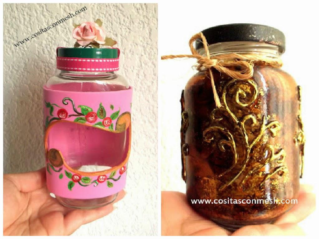 Manualidades frascos de vidrio reciclados con corazones for Frascos decorados para navidad
