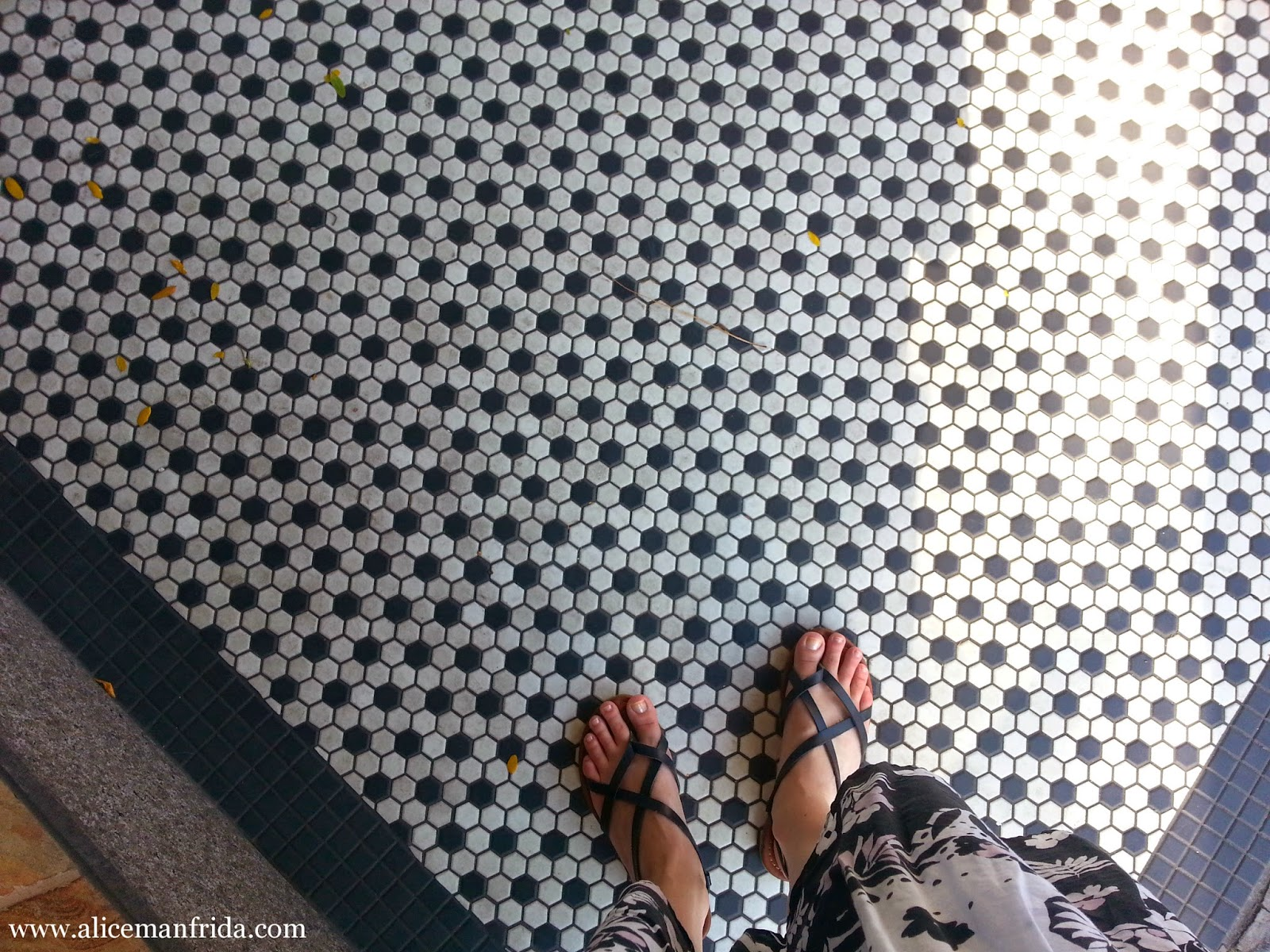 black, white, sandals, tile, leaves, city, street