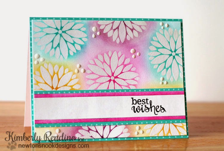 Fanciful Florals card by Kimberly Rendino for Newton's Nook Designs | bold floral |emboss resist | kimpletekreativity.blogspot.com