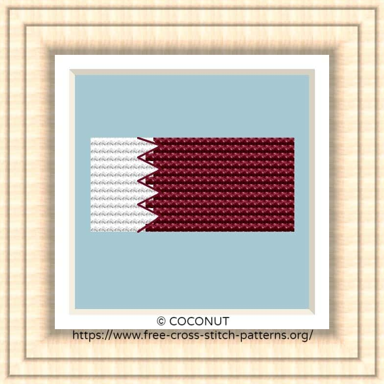 NATIONAL FLAG OF QATAR CROSS STITCH CHART