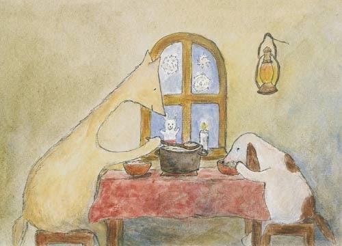 Postcard illustration of Hulmu Hukka and Haukku Spaniel eating Christmas porridge