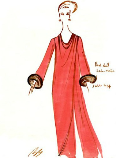 Bill Blass sketch of woman wearing a red dress