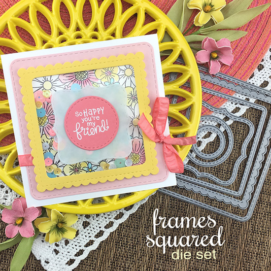 Square Flower Shaker Card by Jennifer Jackson | Floral Fringe Stamp Set and Frames Squared Die Set by Newton's Nook Designs #newtonsnook #handmade