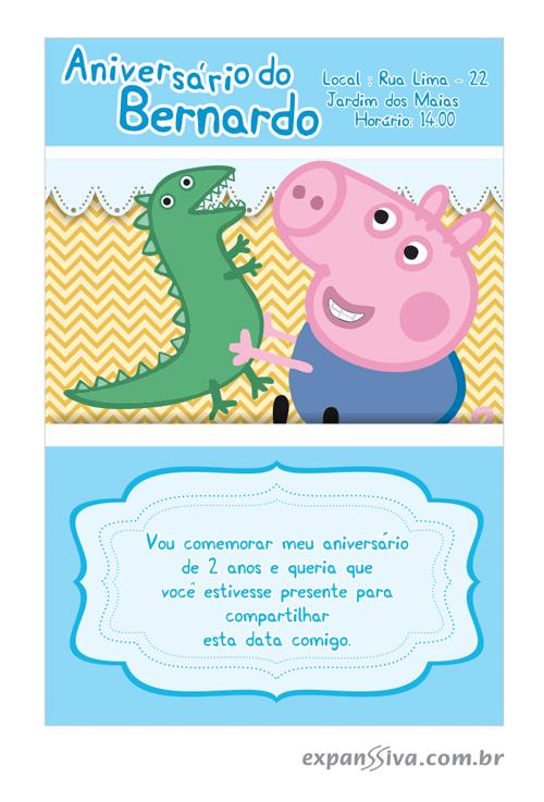 convite de aniversario peppa pig 7 - Convite de Aniversário Infantil Peppa Pig