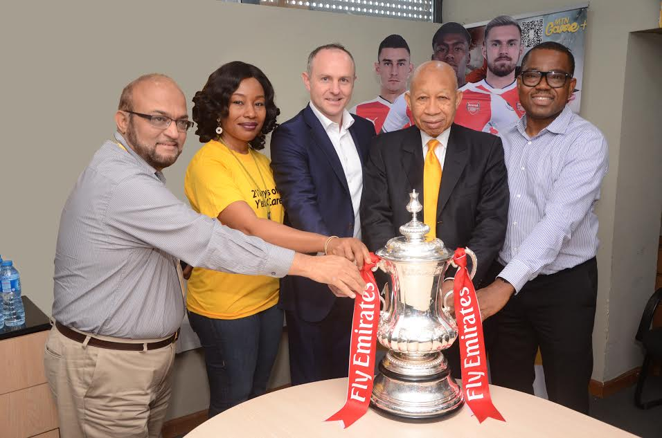 4 Arsenal Lands In Nigeria With FA Cup, Visits MTN Head Office In Lagos (Photos)