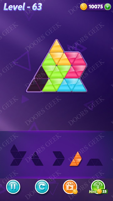 Block! Triangle Puzzle 5 Mania Level 63 Solution, Cheats, Walkthrough for Android, iPhone, iPad and iPod