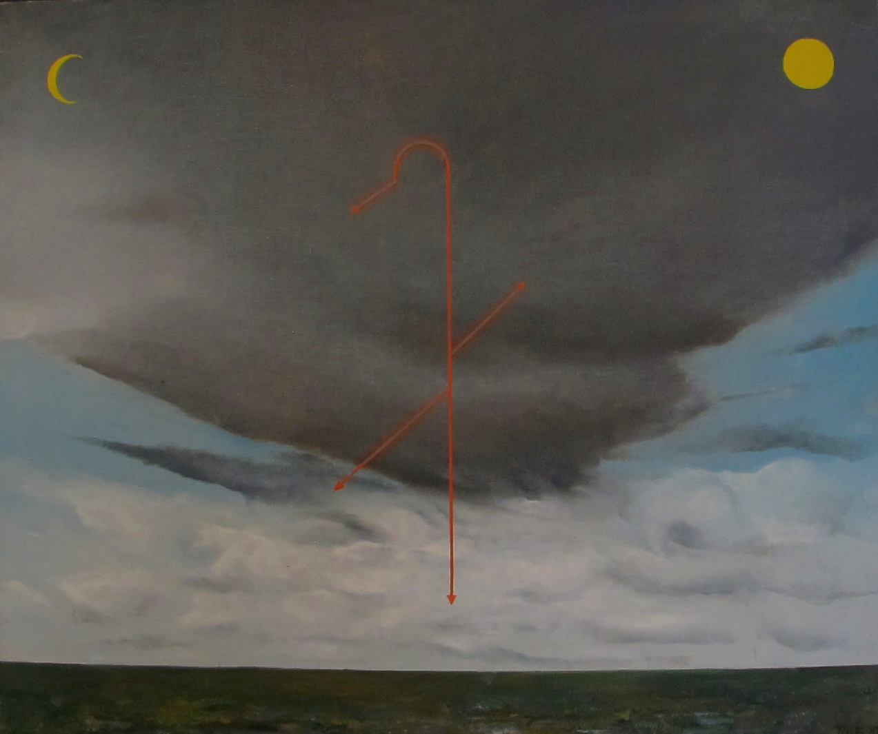 Andres Tolts 'Landscape with the Moon Sun and Lightning' 1982 oil on canvas