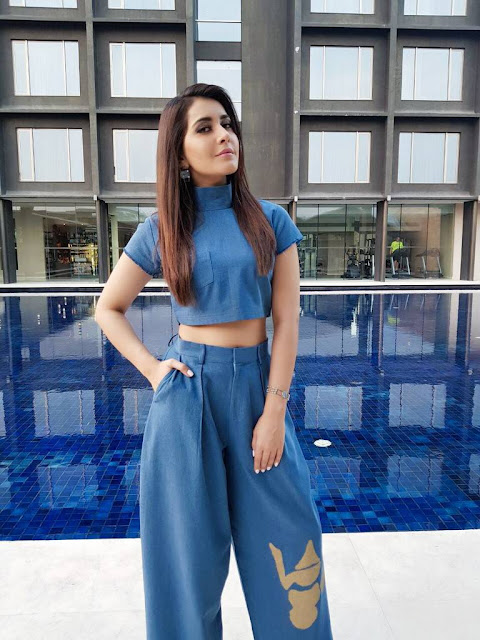 Raashi Khanna Blue Top Photo Shoot Stills