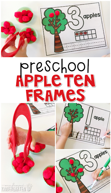 These appel ten frames are a super fun way to practice number identification, counting, number writing, and fine motor skills with an apple theme. Great for tot school, preschool, or even kindergarten!