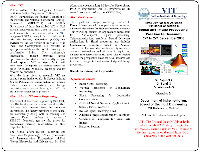 national level workshop on signal and image processing at VIT university