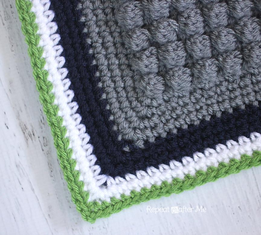 Crochet Bobble Stitch Pixel Blanket Seattle Seahawks Blanket