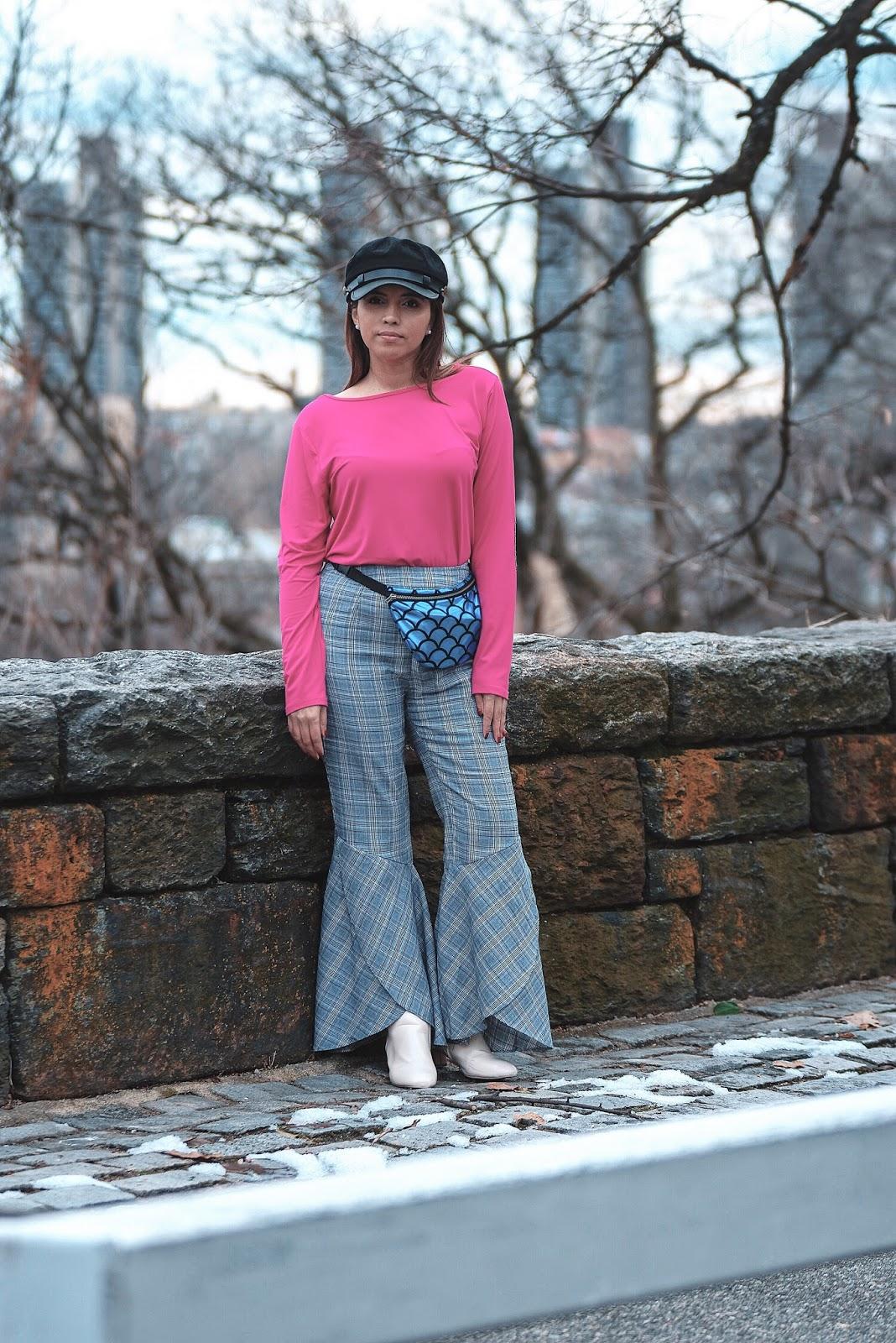 Trending 2018-Color Block - Mari Estilo-mazdalatino-fashionblogger-newyork-colorblock-fannybag-streetstyle-plaid pants-marisolflamenco