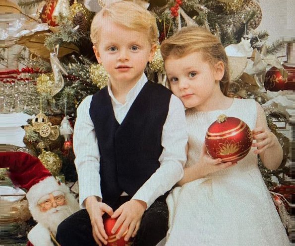 Prince Albert, Princess Charlene and their twins Crown Prince Jacques and Princess Gabriella's Christmas card