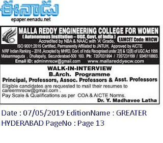 MRCW Assistant Professor / Principal Jobs in Malla Reddy Engineering College for Women Recruitment 2019 Walk-in Interview, Secunderabad