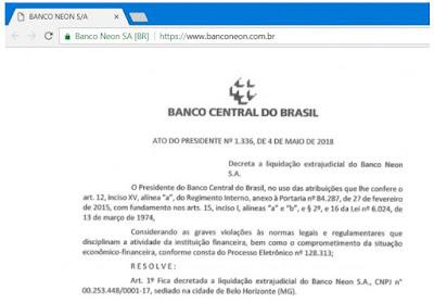 Aviso Banco Central sobre Banco Neon